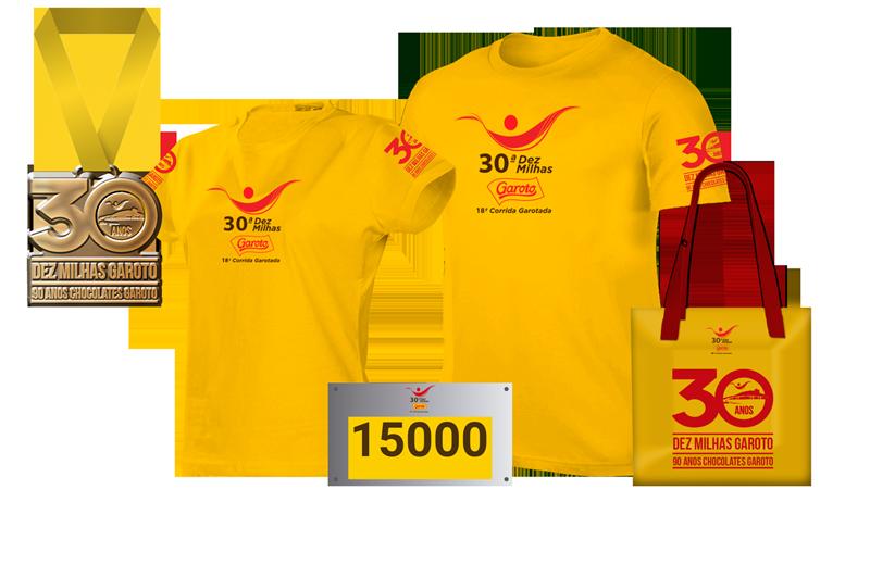 Kit do Atleta das Dez Milhas Garoto, com camiseta, número de peito e sacola